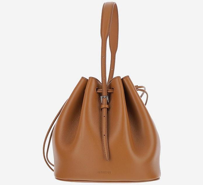 Brown Leather Bucket bag w/Top Handle - Jil Sander