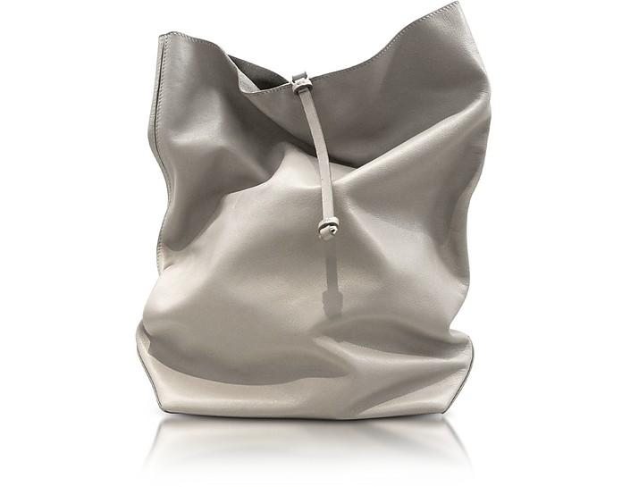 Nuzzi - Light Gray Nappa Leather Lunch Bag Clutch - Jil Sander