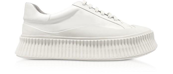 纯白色皮革平板运动鞋 - Jil Sander