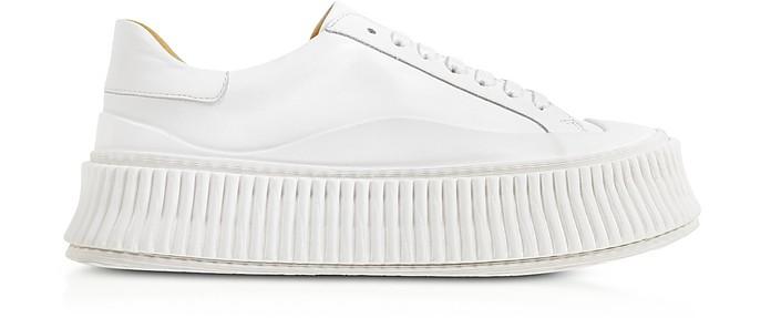 Pure White Leather Flatform Sneakers - Jil Sander