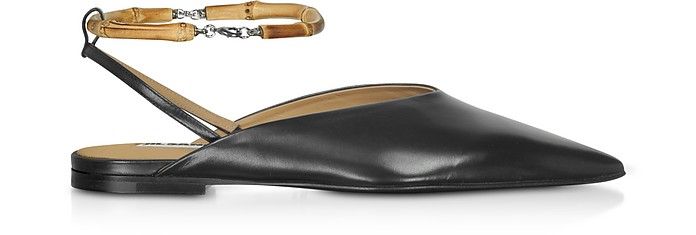 Black Leather Flat Slingback Shoes - Jil Sander