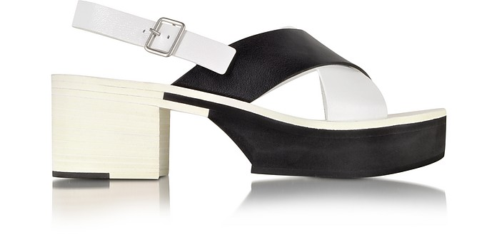 Two Tone Leather Mid-Heel Platform Sandal - Jil Sander