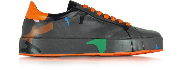Dark Grey Camo Print Nappa Sneaker - Jil Sander