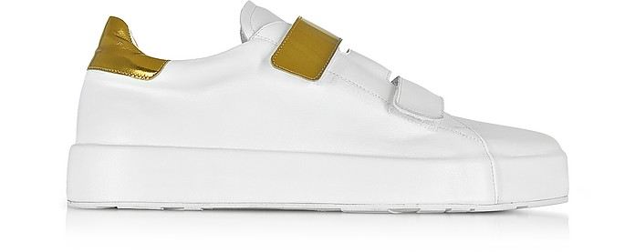 White and Laminated Leather Women's Sneaker - Jil Sander