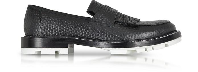 Black Hammered Leather Loafer w/White Sole - Jil Sander