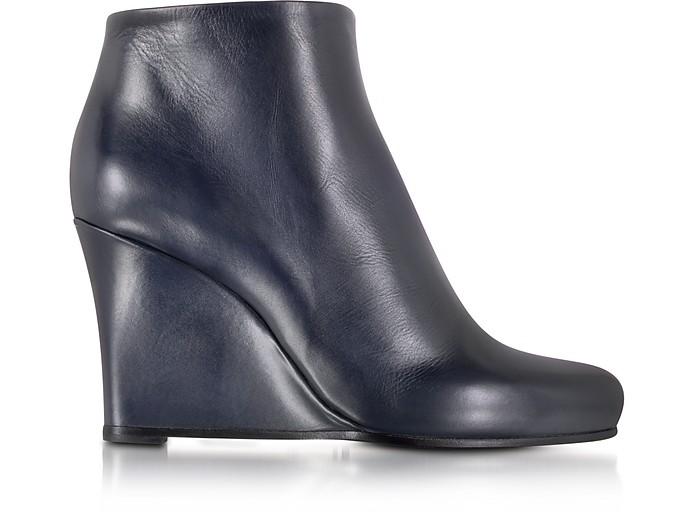 Dark Blue Leather Wedge Ankle Bootie - Jil Sander