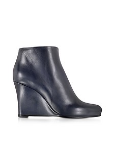 Dark Blue Leather Wedge Ankle Bootie