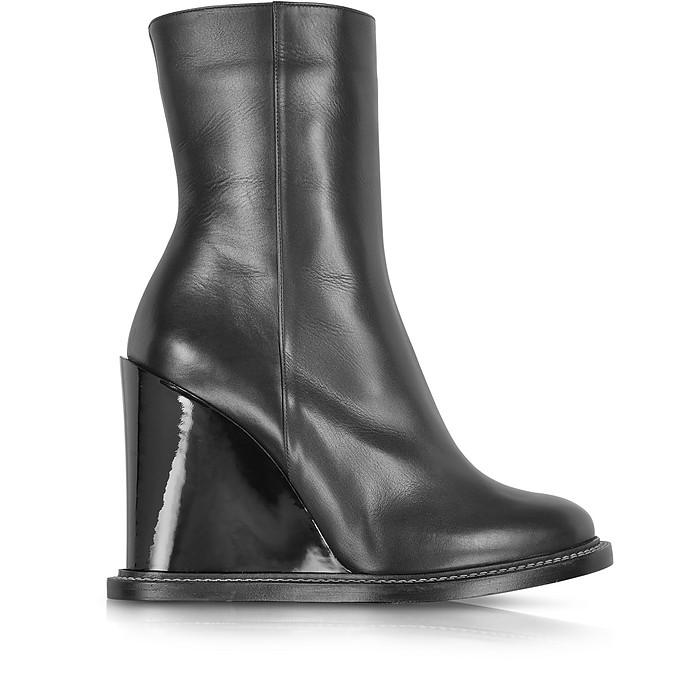 Black Leather Wedge Ankle Boot - Jil Sander