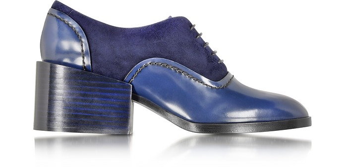 Navy Blue Leather and Suede Lace-up Shoe - Jil Sander