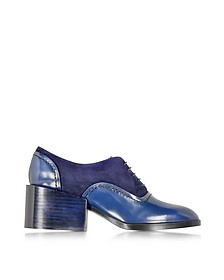 Navy Blue Leather and Suede Lace-up Shoe