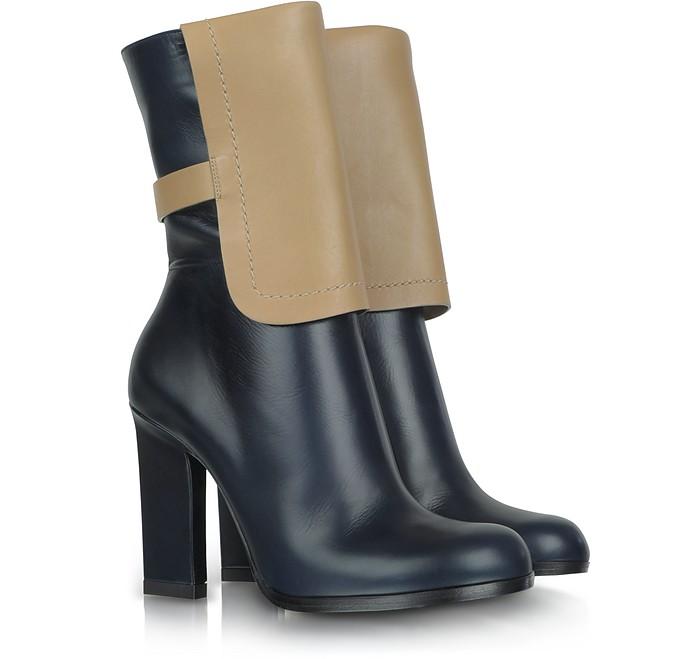Color Block Leather Ankle Boot - Jil Sander