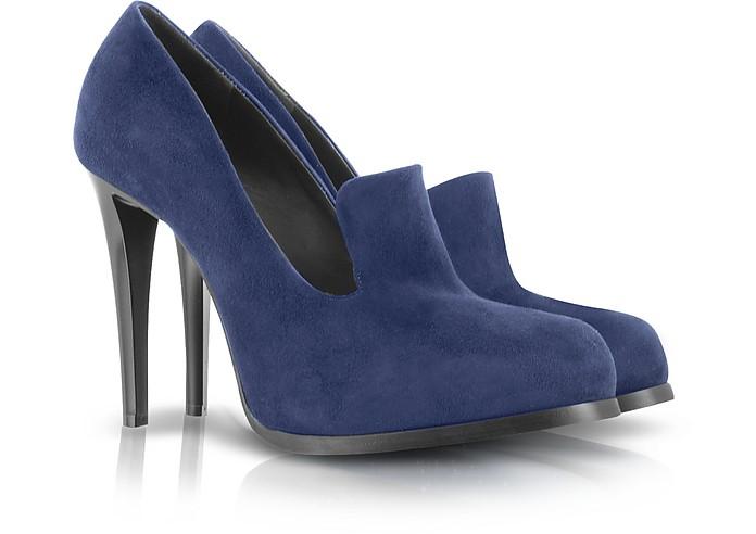 Navy Blue High Heel Suede Loafer - Jil Sander