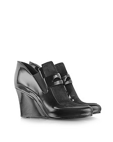 Black Haircalf and Leather Wedge