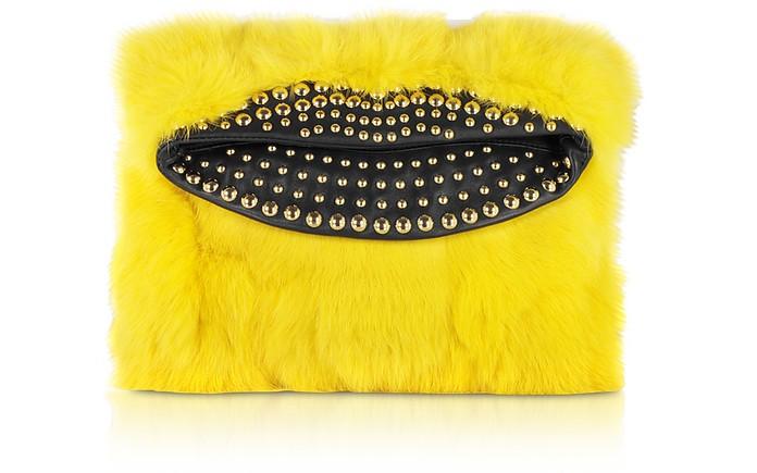 Furry Foldover Clutch w/Studs - Just Cavalli