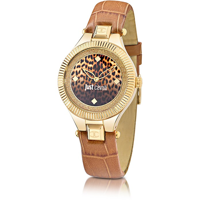 Just Indie Stainless Steel Women's Watch w/Brown Leather Strap - Just Cavalli