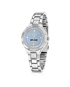 Just Indie Silver Tone Stainless Steel Women's Watch w/Blue Dial - Just Cavalli