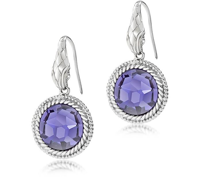 Just Queen Silvertone Earrings w/Crystal - Just Cavalli