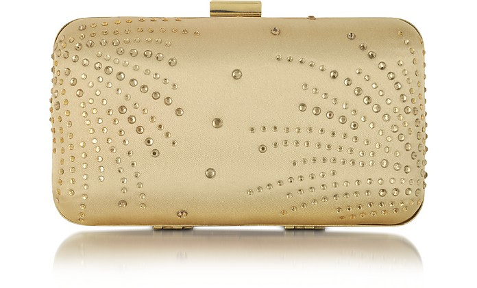 Mini Gold Satin Clutch w/Crystals - Julia Cocco'
