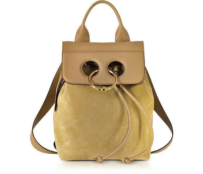 Gold Suede and Leather Mini Pierce Backpack - JW Anderson