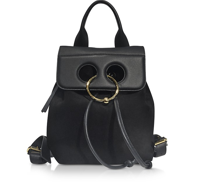 Black Suede and Leather Mini Pierce Backpack - JW Anderson