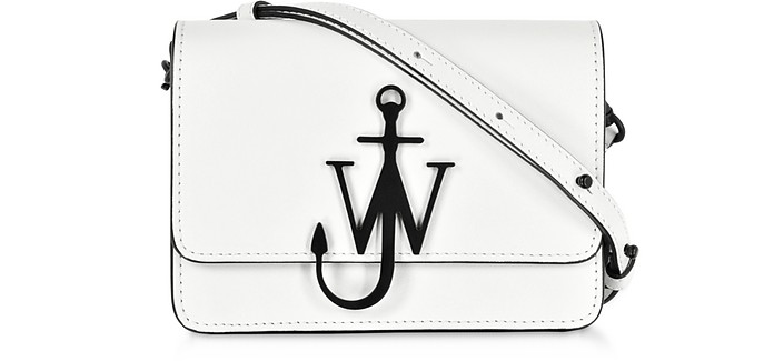 White and Black New Mini Logo Purse w/Shoulder Strap - JW Anderson