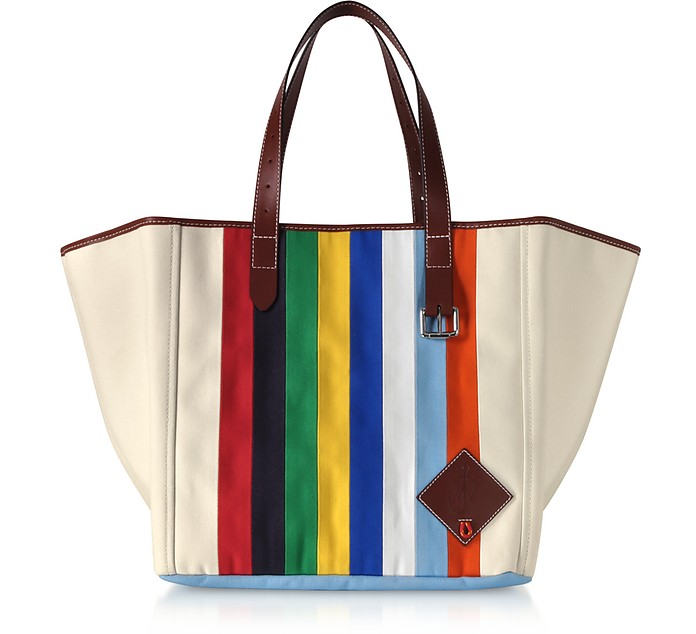 Vertical Stripes Canvas Tote Bag - JW Anderson