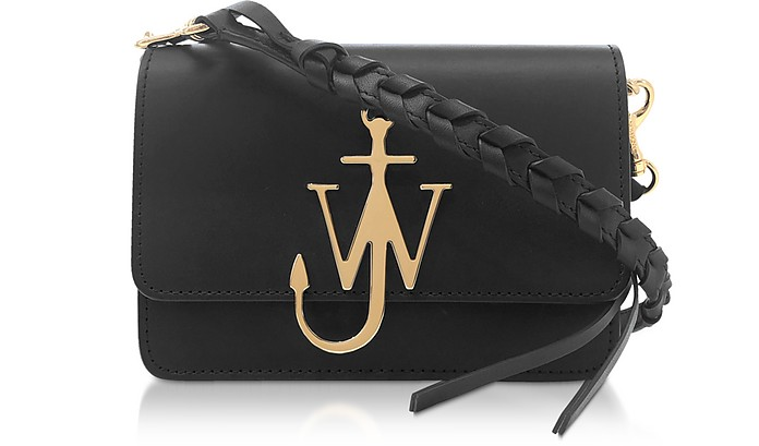 Black Anchor Logo Bag w/Braided Shoulder Strap - JW Anderson