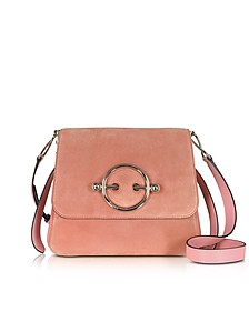 Dusty Rose Suede and Leather Disc Bag - JW Anderson