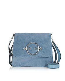 Disc Bag in Suede e Pelle Blue Bird - JW Anderson