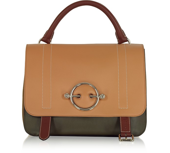 Disc Leather Top Handle Satchel - Brown in Neutrals