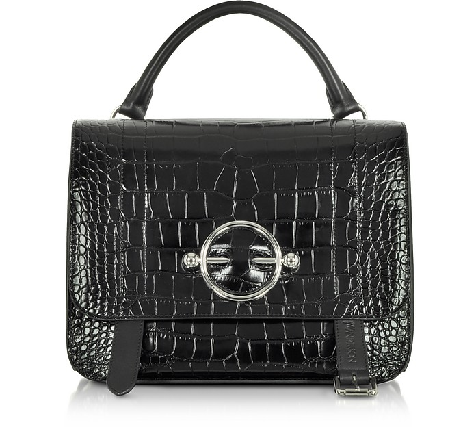 Black Croco Embossed Leather Disc Satchel Bag - JW Anderson