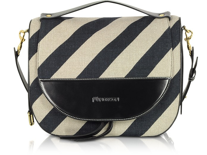 Black and Off White Striped Linen Moon Shoulder Bag - JW Anderson