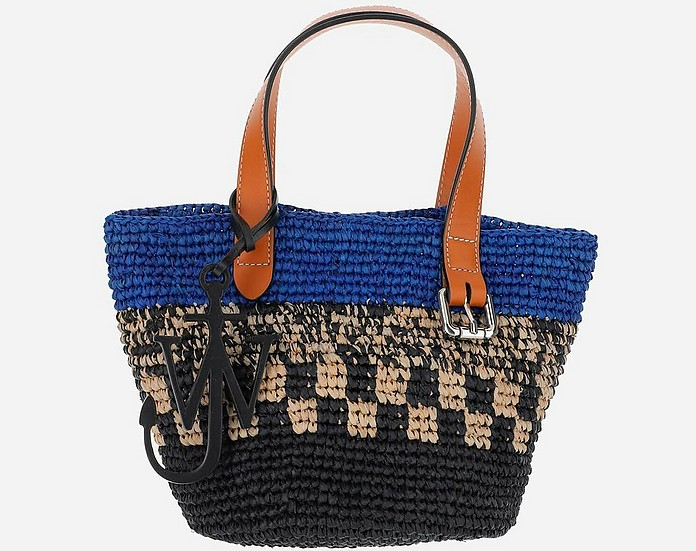 Blue Woven Raffia and Leather Mini Belt Basket Tote Bag - JW Anderson