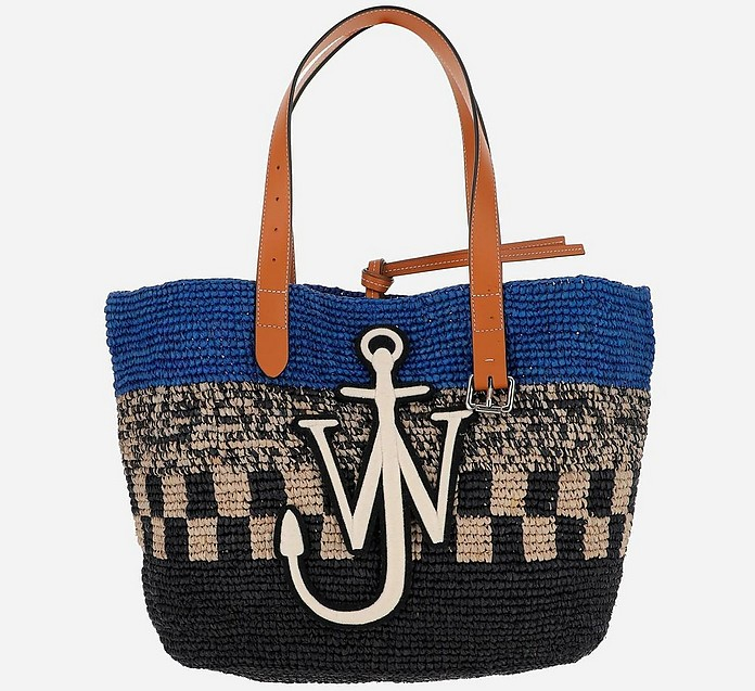 Blue and Black Woven Raffia and Leather Mini Belt Basket Tote Bag - JW Anderson / JW アンダーソン