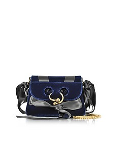Midnight Blue Mini Pierce Velvet Bag - JW Anderson