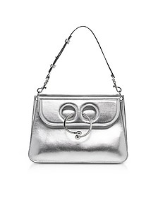 Silver Leather Medium Pierce Metallic Bag - JW Anderson