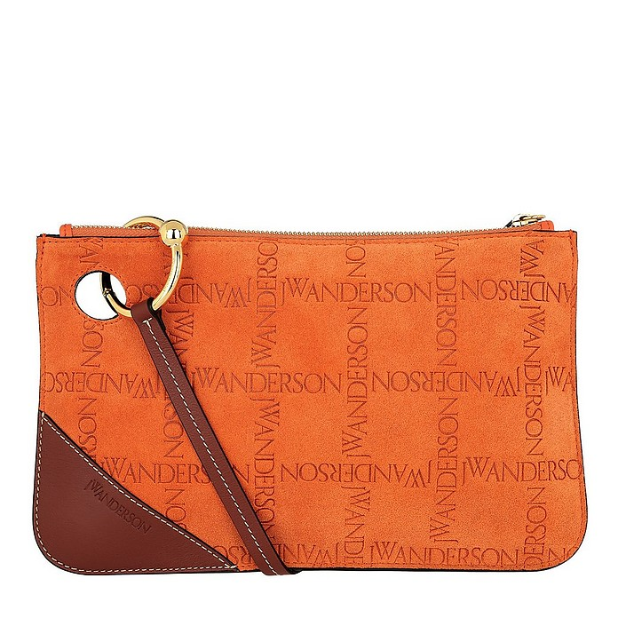 7ba3fdbba JW Anderson Embossed Clutch Suede Burnt Orange at FORZIERI Canada