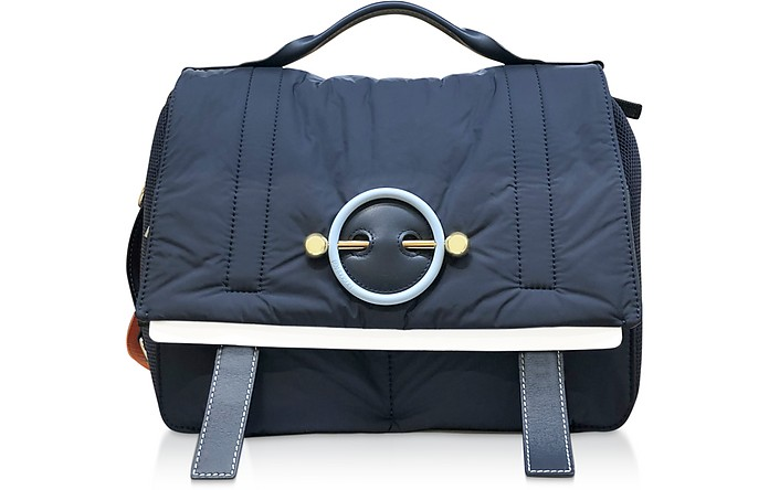 Navy Blue Nylon Satchel bag - JW Anderson