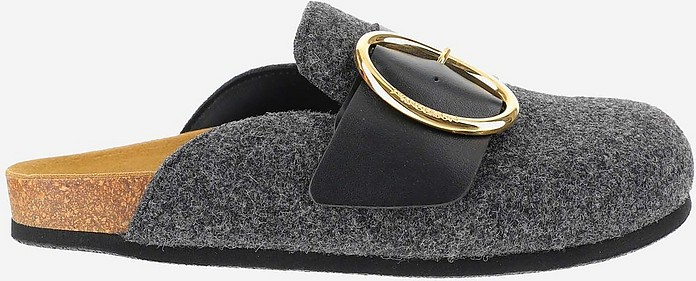 Black Leather and Grey Felt Buckle Mules - JW Anderson