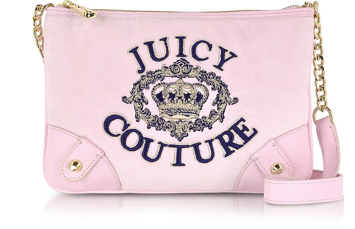 Juicy Crown Pink Velour Crossbody - Juicy Couture