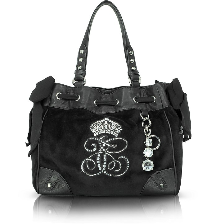 Large Black Velour Daydreamer Tote - Juicy Couture
