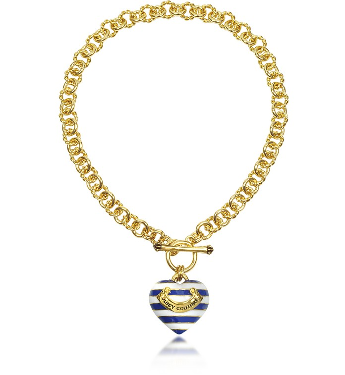 Striped Heart Link Necklace - Juicy Couture