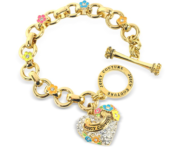 Pave Heart and Flower Charm Bracelet - Juicy Couture