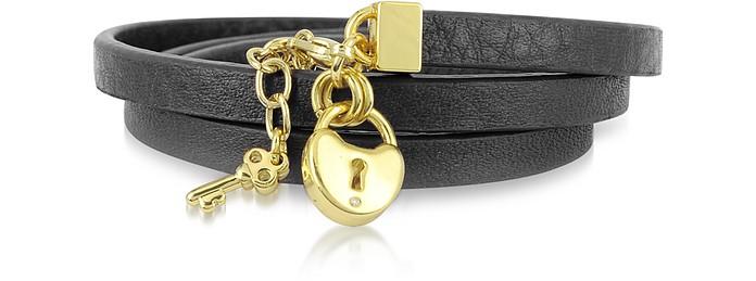 Triple Leather Wrap Padlock Bracelet - Juicy Couture