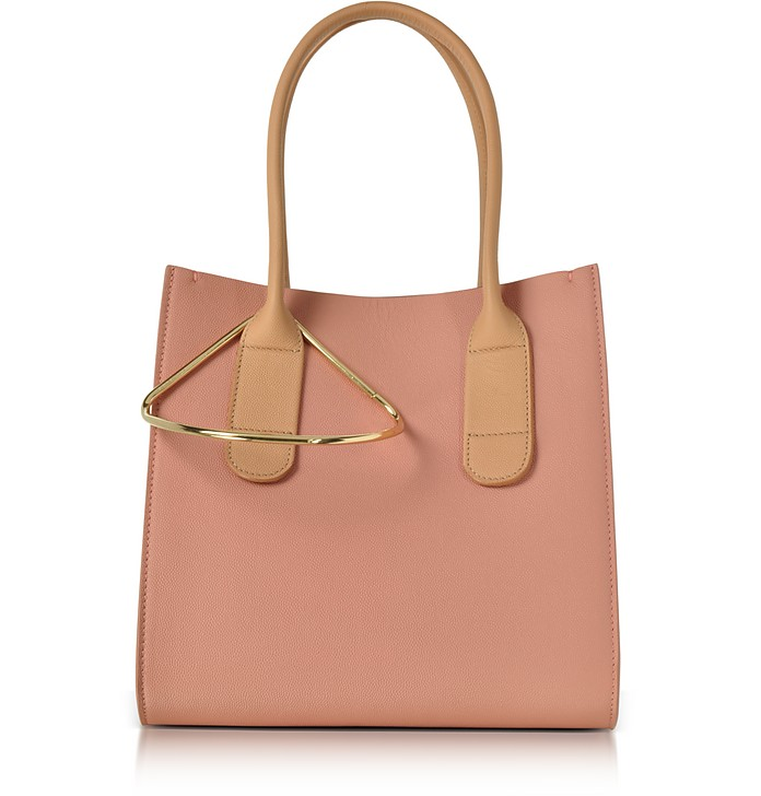 Peach and Mastic Leather Mini Weekend Bag - Roksanda