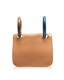Desert Sand Leather Neneh Bag w/Wooden Handles - Roksanda
