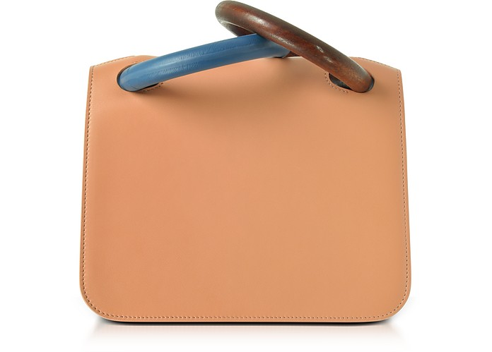 Desert Sand Leather Neneh Bag w/Wooden Handles - Roksanda