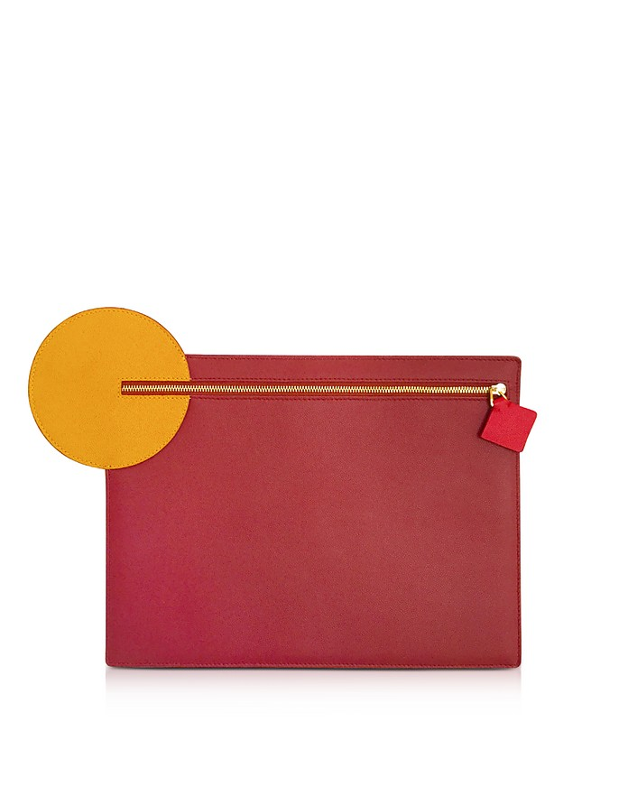 Cherry and Honey Leather Alpin Clutch - Roksanda