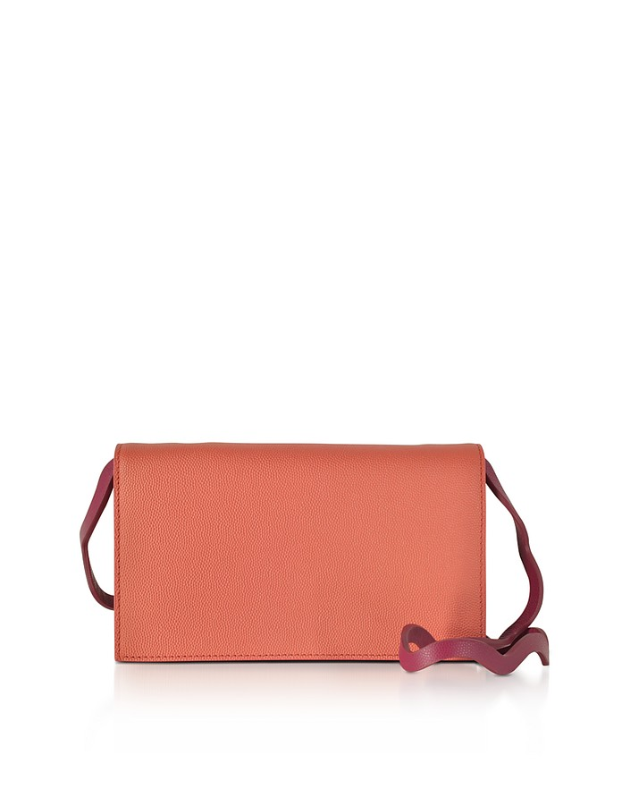 Orchid Leather Wallet w/Wave Shoulder Strap - Roksanda