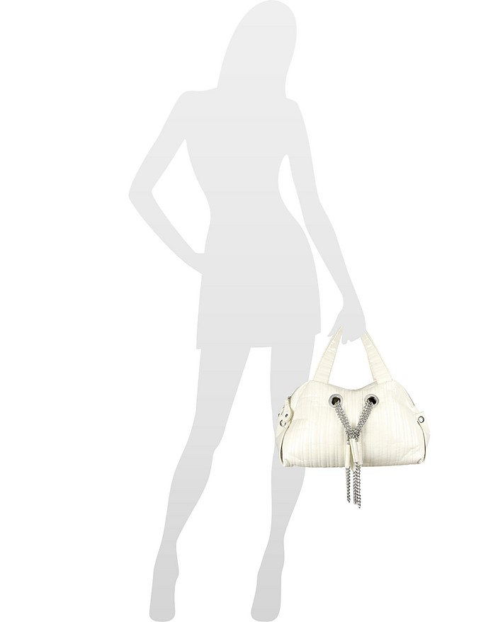 233780c874 Keshia Cream Stitched Patent Eco-Leather Satchel Bag at FORZIERI